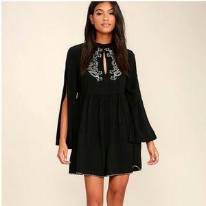 MINKPINK Black Embroidered Cutout Dress Size XS